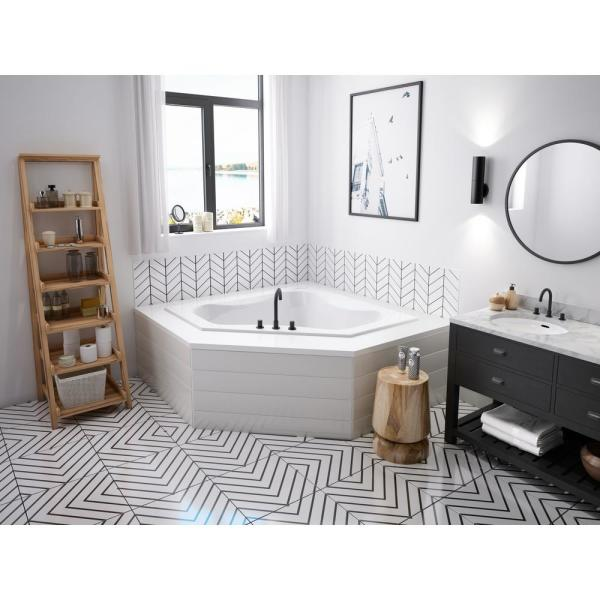 Jacuzzi Projecta 60 In X 60 In Acrylic Corner Drop In Whirlpool Bathtub In White R5d6060wcl1xxw The Home Depot