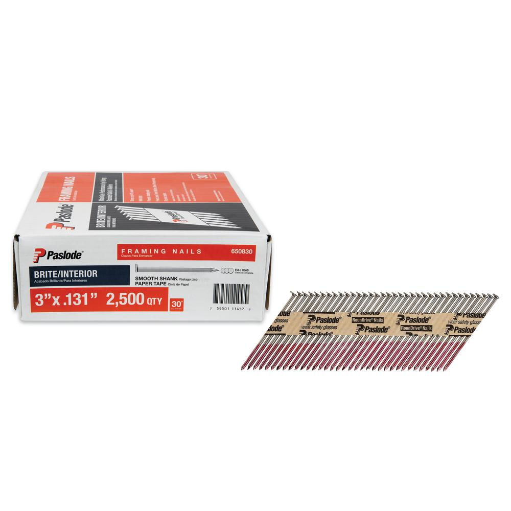 Paslode 3 In. X 0.131 Gauge 30 Degree Brite Smooth Shank Paper Tape
