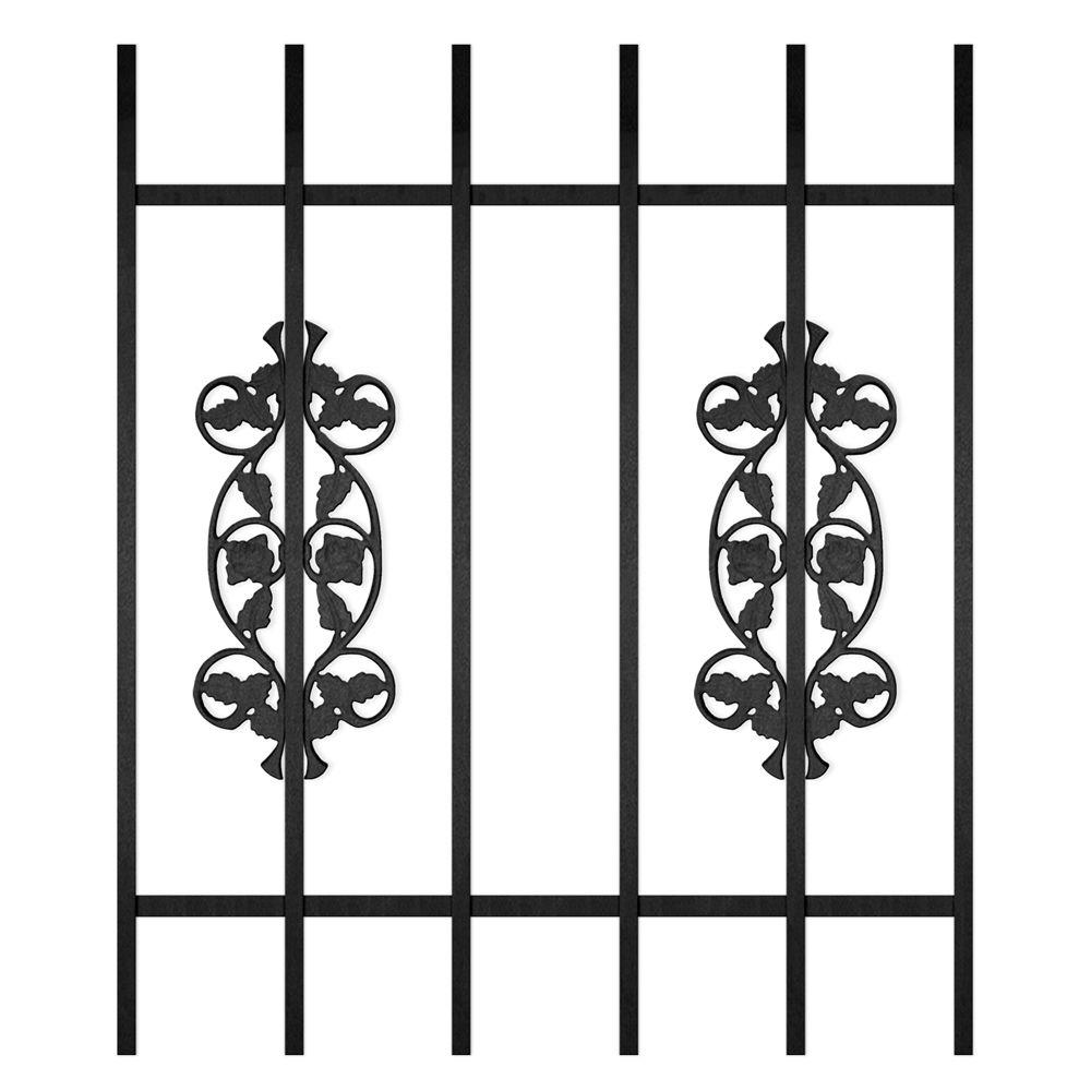Unique Home Designs Rambling Rose 30 in. x 36 in. Black 6-Bar Window Guard-DISCONTINUED