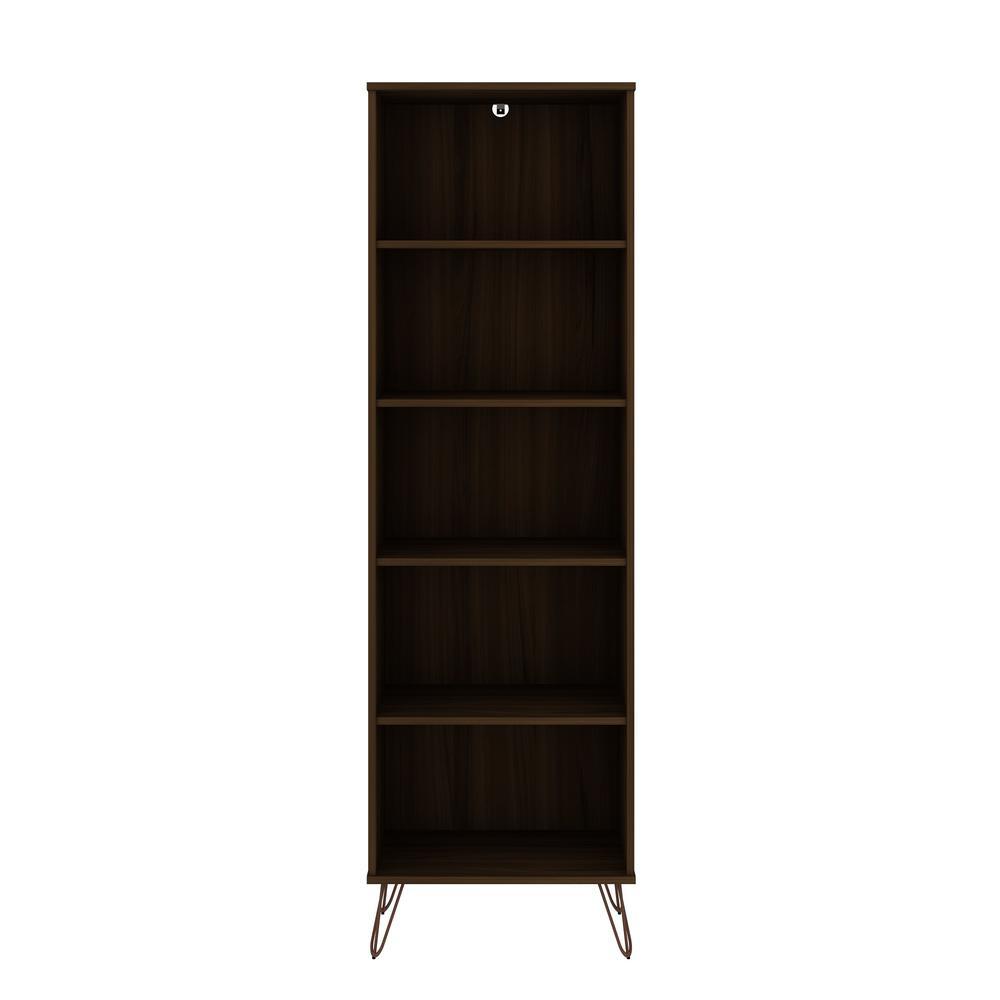 Rockefeller 69.29 in. Brown 5-Shelf Bookcase 2.0