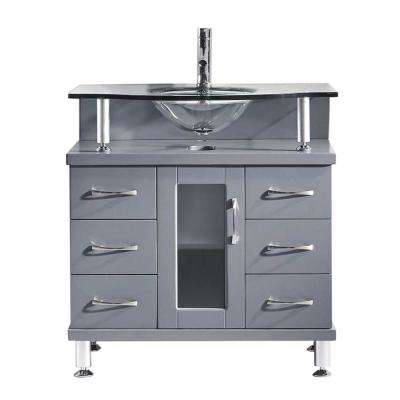 Vincente 32 in. W Bath Vanity in Gray with Glass Vanity Top in Clear Tempered Glass with Round Basin
