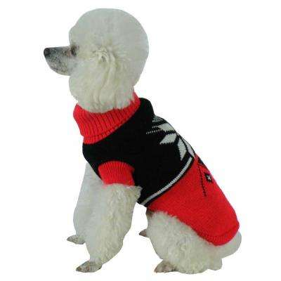 Medium Red and Black Snow Flake Cable-Knit Ribbed Fashion Turtle Neck Dog Sweater