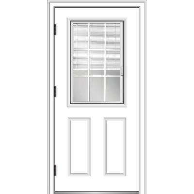 32 in. x 80 in. Internal Blinds and Grilles Right Hand Outswing 1/2 Lite 2-Panel Clear Primed Steel Prehung Front Door