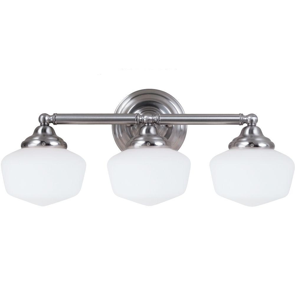 Sea Gull Lighting 44237 962 3 Light Brushed Nickel Bathroom Vanity Wall Fixture: Sea Gull Lighting Academy 3-Light Brushed Nickel Vanity Light-44438-962