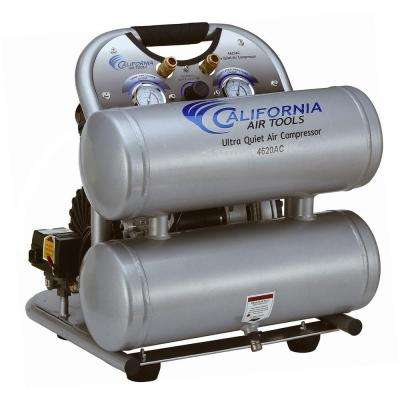 4620AC Ultra Quiet and Oil-Free 2.0 Hp, 4.0 Gal. Aluminum Twin Tank Electric Portable Air Compress
