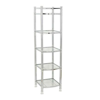 14.5 in. W Linen Tower with Glass Shelves in Chrome