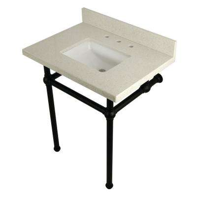 Square Washstand 30 in. Console Table in White Quartz with Metal Legs in Matte Black