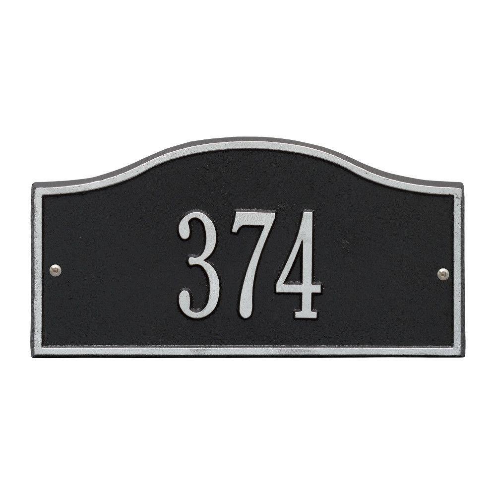 Rolling Hills Rectangular Black/Silver Mini Wall 1-Line Address Plaque