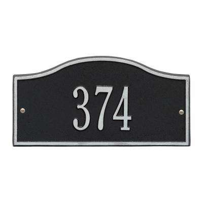 Rolling Hills Rectangular Black/Silver Mini Wall 1-Line Address Plaque
