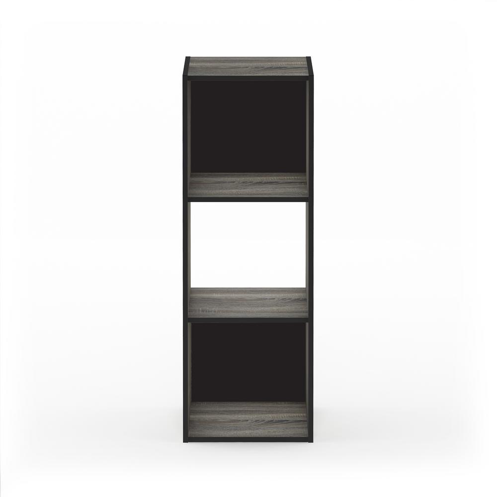 Pelli 35.94 in. French Oak Gray Wood 4-shelf Cube Bookcase with Open Back