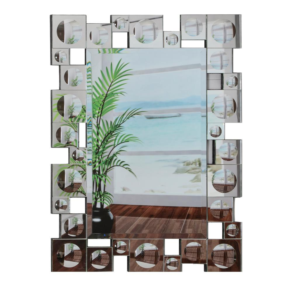 Breeze point 30 in x 40 in rectangular beveled frameless wall rectangular beveled frameless wall mirror w retro modern squares and convex circles silver border m00206s the home depot amipublicfo Gallery