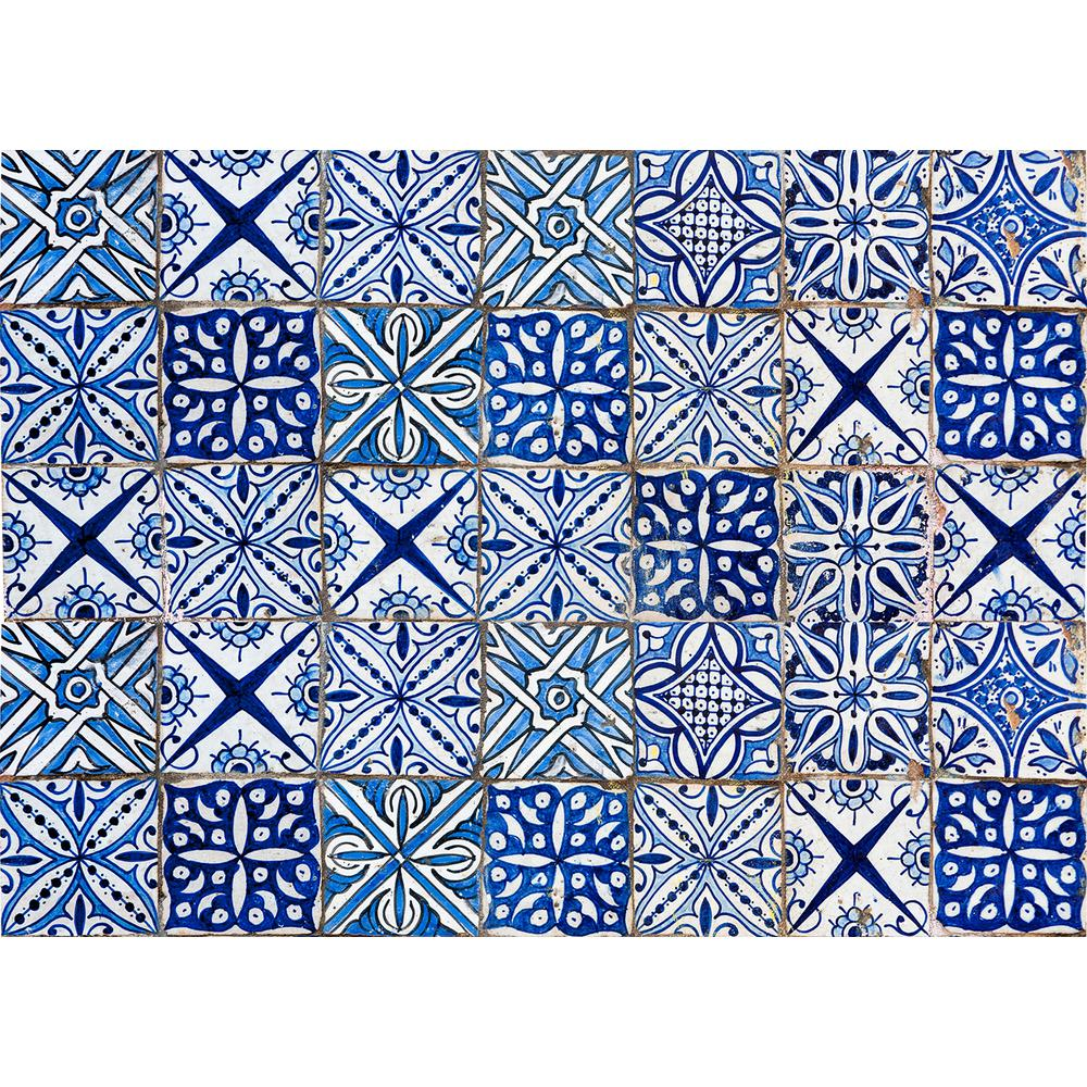 Brewster 25.6 in. x 18.5 in. Blue Azulejos Kitchen Panel Wall Decal ...