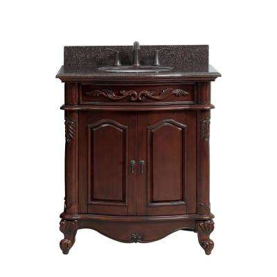Provence 31 in. W x 22.5 in. D x 35 in. H Vanity in Antique Cherry with Granite Vanity Top in Imperial Brown and Basin