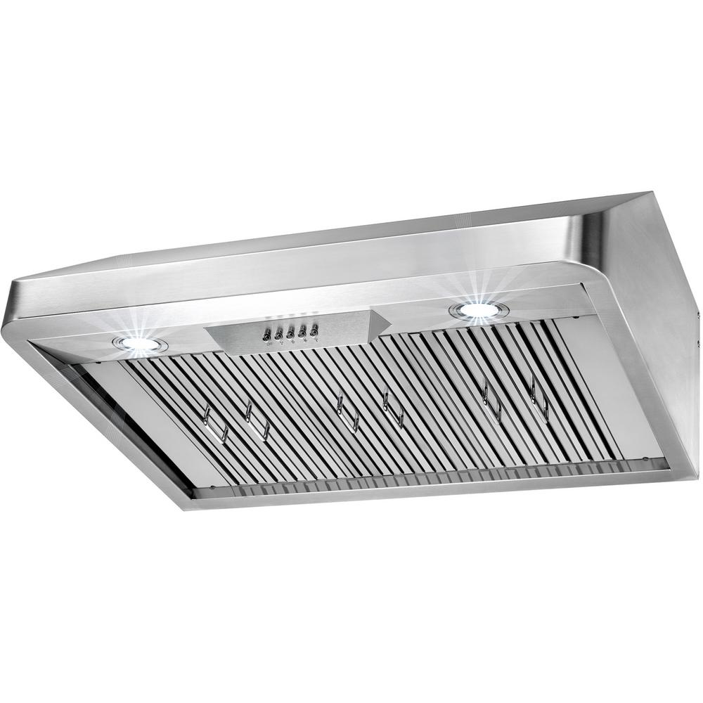 Under Cabinet Range Hood In Stainless Steel With LEDs And Electronic Push  Buttons RH0251   The Home Depot