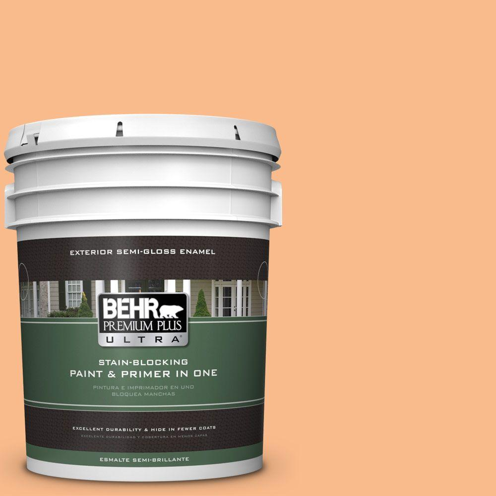 BEHR Premium Plus Ultra 5-gal. #260C-3 Fresh Peaches Semi-Gloss Enamel Exterior Paint