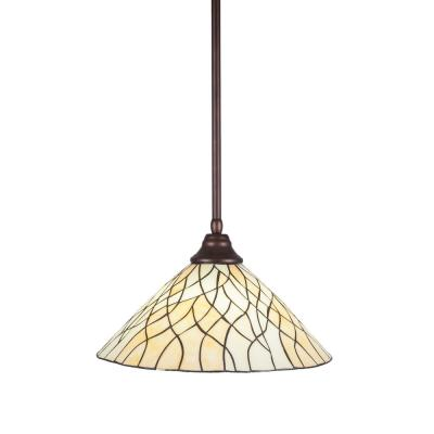 1-Light Bronze Pendant with 16 in. Sandhill Tiff Glass