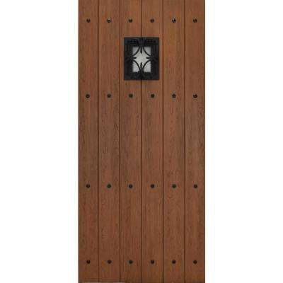 35-3/4 in. x 79 in. Decorative Speak Easy Castle Plank Autumn Wheat Textured Fiberglass Front Door Slab