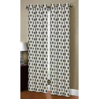 Semi-Opaque Malden Printed Cotton Blend 84 in. L Grommet Curtain Panel Pair, Black/Silver (Set of 2)