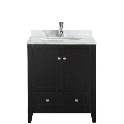 Lime 30 in. W x 22 in. D x 34.50 in. H Vanity in Espresso with Jazz Marble Vanity Top in White with White Basin