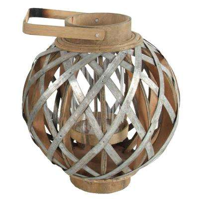 11.5 in. x 13 in. Wood and Iron Decorative Lantern