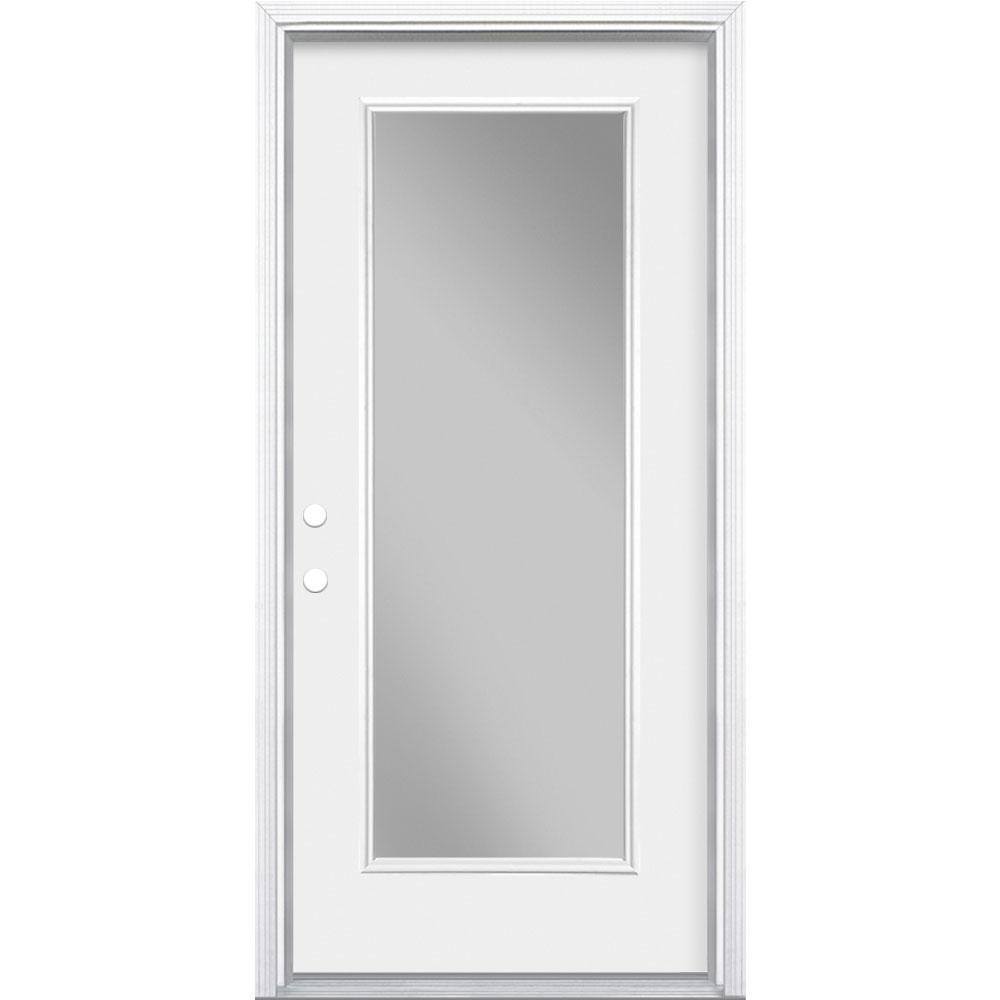 Masonite 36 In X 80 In Premium Full Lite Right Hand Inswing Primed Steel Prehung Front Exterior Door With Brickmold 27624 The Home Depot