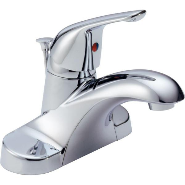 Delta Foundations 4 In Centerset Single Handle Bathroom Faucet With Metal Drain Assembly In Chrome B510lf The Home Depot