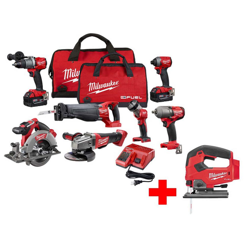 Milwaukee M18 FUEL 18-Volt Lithium-Ion Brushless Cordless Combo Kit (7-Tool) with Two 5.0 Ah Batteries and Free M18 FUEL Jigsaw