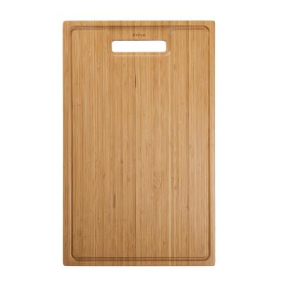 19.5 in. x 12 in. Rectangle Organic Solid Bamboo Cutting Board for Kitchen Sink