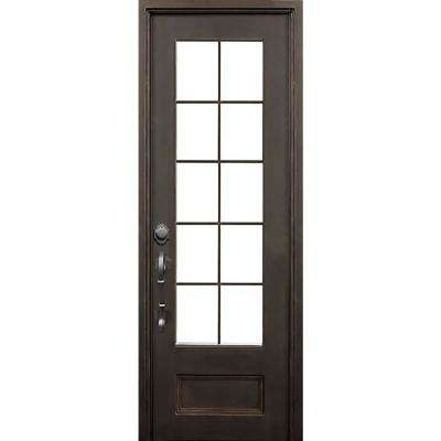 40 in. x 96 in. Key Largo Dark Bronze Right-Hand Outswing Painted Iron Prehung Front Door w/ Privacy Glass & Hardware