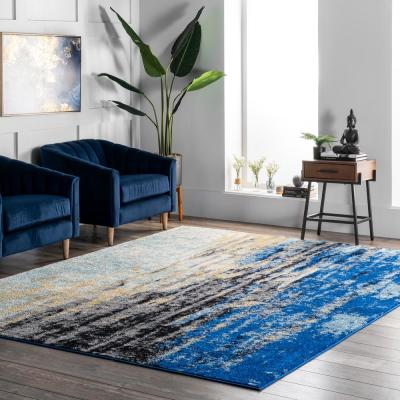 Katharina Modern Abstract Blue 9 ft. x 12 ft. Area Rug