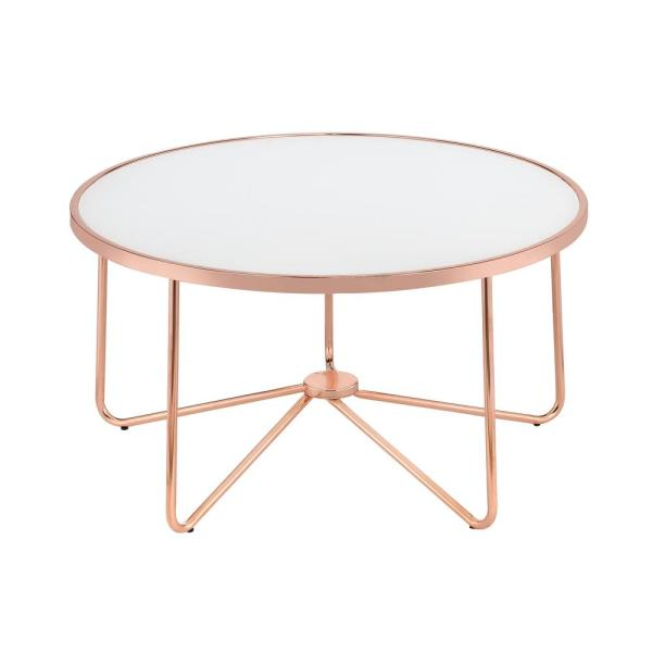 Amelia Frosted Glass And Rose Gold Coffee Table