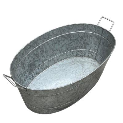 1.7 Gal. Large Silver Oval Shape Embossed Design Galvanized Steel Tub with Side Handles