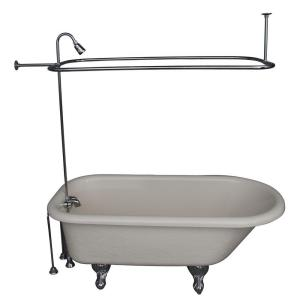 Barclay Products 5 ft. Acrylic Ball and Claw Feet Roll Top Tub in Bisque with Polished Chrome Accessories by Barclay Products