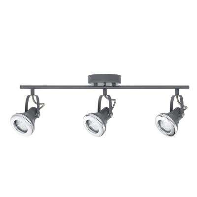 Lawrence 2 ft. 3-Light Gray and Chrome Halogen Track Lighting Kit