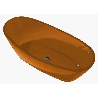 Ember 5.4 ft. Man-Made Stone Center Drain Flatbottom Non-Whirlpool Freestanding Bathtub in Honey Amber