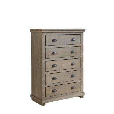 Willow 5-Drawer Weathered Gray Chest