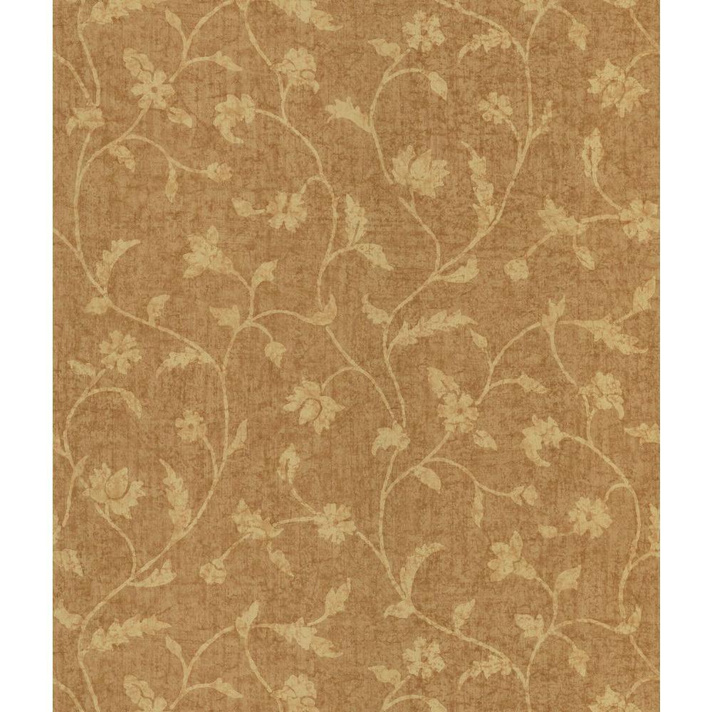 Tawny Batik Floral Trail Wallpaper Sample