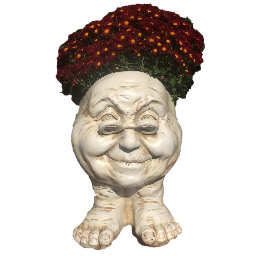 14 in. Antique White Grandma Violet Muggly Planter Statue Holds 6