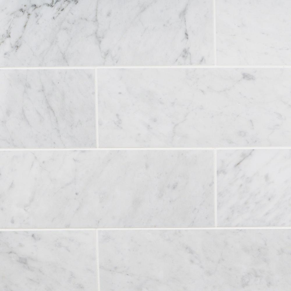 Ivy Hill Tile White Carrara 4 In X 12 9mm Polished Marble