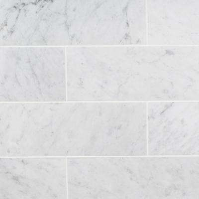 White Carrara 4 in. x 12 in. x 9mm Polished Marble Subway Tile (30 pieces / 10 sq. ft. / box)