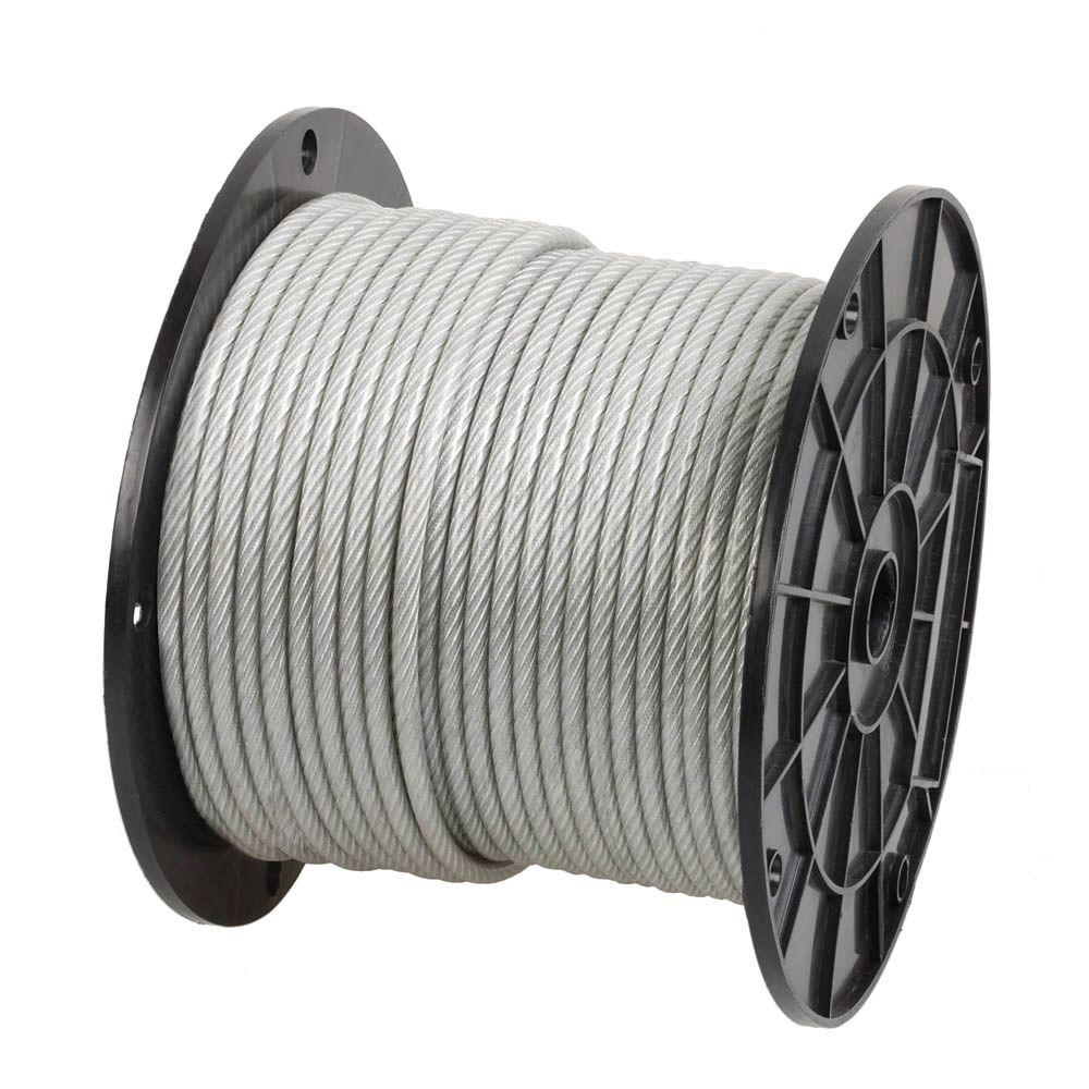 Everbilt 1/8 in. - 3/16 in. x 250 ft. Galvanized Vinyl-Coated Wire Rope