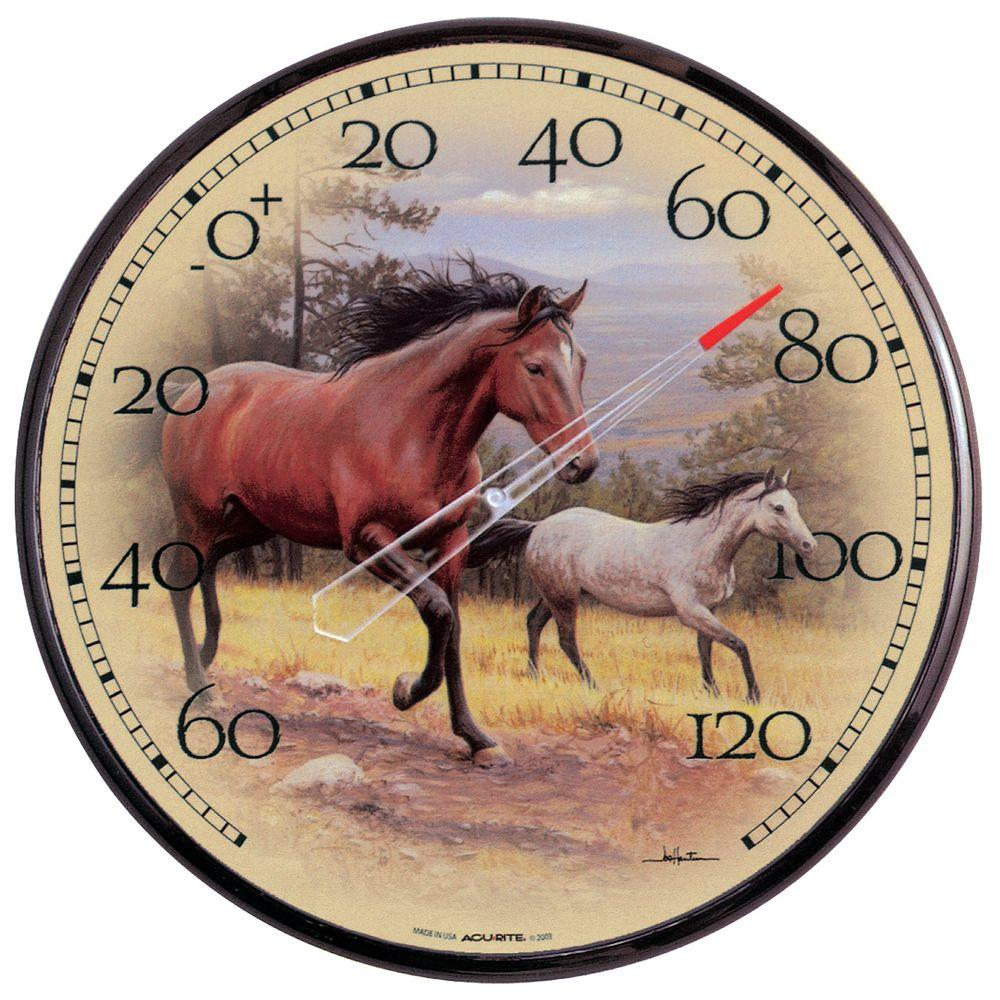 AcuRite 12.5 in. Galloping Horses Analog Thermometer