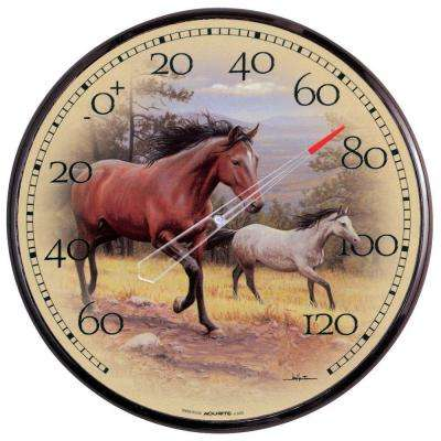 12.5 in. Galloping Horses Analog Thermometer