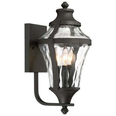 Libre Collection 3-Light Black Outdoor Wall Mount Lantern with Clear Water Glass
