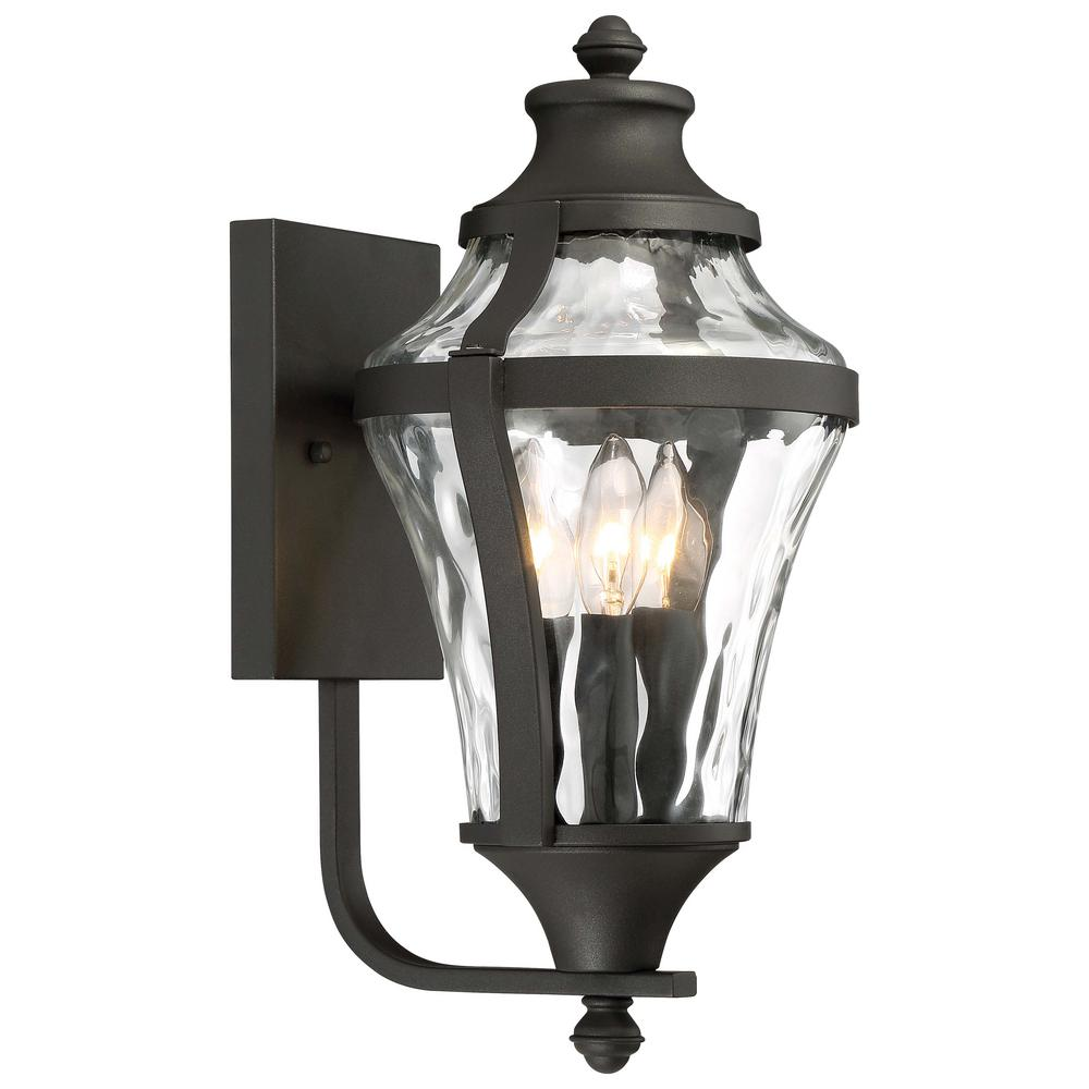 Minka Lavery Libre Collection 3-Light Black Outdoor Wall Mount Lantern with Clear Water Glass