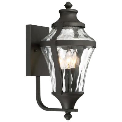 Libre Collection 3-Light Black Outdoor Wall Lantern Sconce with Clear Water Glass