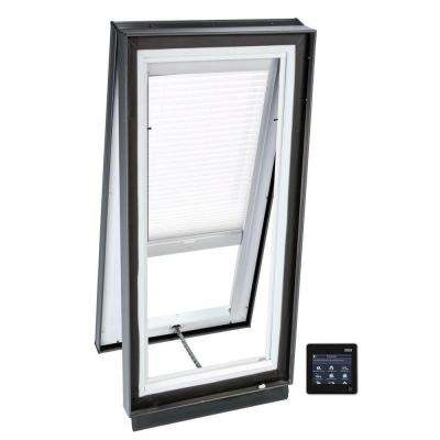 22-1/2 in. x 34-1/2 in. Solar Powered Venting Curb-Mount Skylight w/ Laminated Low-E3 Glass White Light Filtering Blind