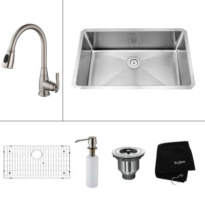 All-in-One Undermount Stainless Steel 30 in. Single Bowl Kitchen Sink with Faucet and Accessories in Satin Nickel