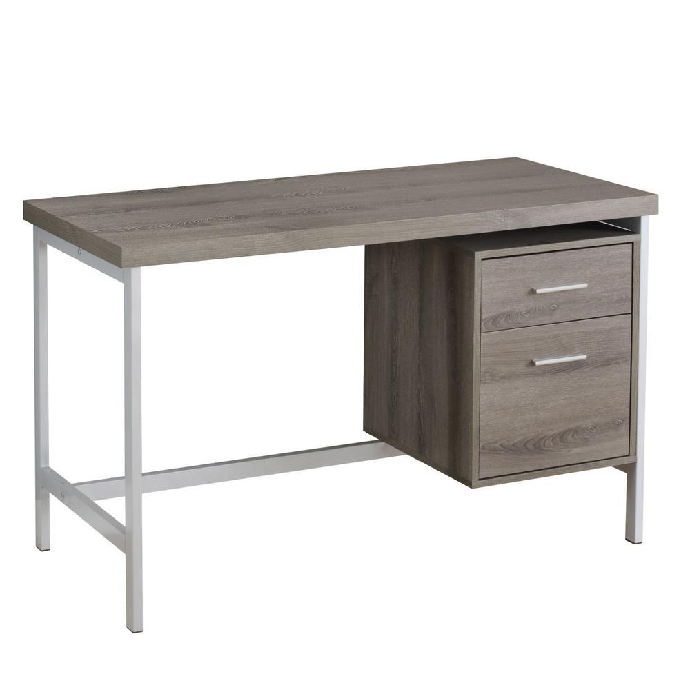 Jasmine 1-Piece Dark Taupe and Silver Computer Desk