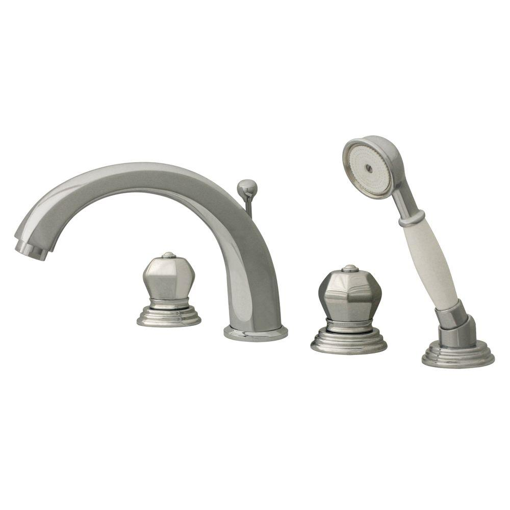 Whitehaus Collection Blairhaus 2-Handle Deck-Mount Roman Tub Faucet with Handshower in Polished Chrome